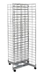 Chrome 4-Way Slat Grid Rack with Base and Casters - 6.5'