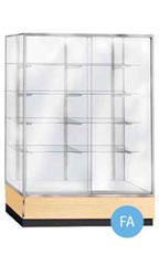 Glass Upright Metal Framed Wall Unit Display Cases - Maple