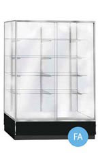 Glass Upright Metal Framed Wall Unit Display Cases - Black