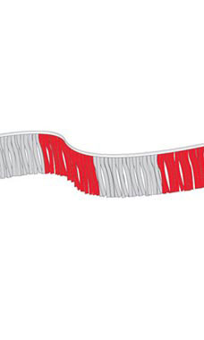 Metallic Fringe Pennant - Red/Silver