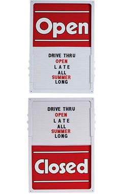 "Red Open/Closed Sliding Sign Board Vertical - 14""W x 20""H"