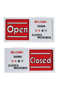 "Red Open/Closed Sliding Sign Board Horizontal - 20""W x 10""H"