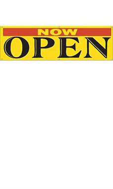 Yellow Now Open Banner - Multi-Colored Font