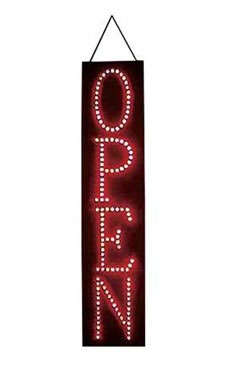 Vertical LED Open Sign  - Red