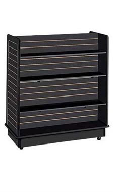 Slatwall Gondola with 6 Shelves and Brackets- Black