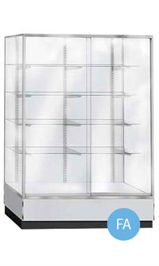 Glass Upright Metal Framed Wall Unit Display Cases - Gray