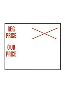 Red & White SSW Regular Price/Our Price 2-Line Labels